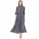 Grey Frill Color Dress