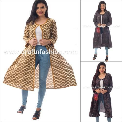 2a5019642b66 Full Sleeve Indo Western Style Cotton Printed Designer Women  s Long Jacket