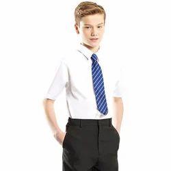 White And Black Cotton Boys School Uniform