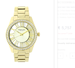 Kenneth Cole Golden Dial Analog Watch For Women