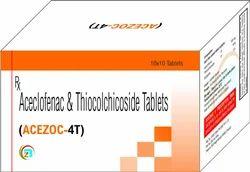 Acezoc-4T Tablet Aceclofenac & Thiocolchicoside Tablets, Packaging Size: 10x10 (Alu Alu), Packaging Type: Box
