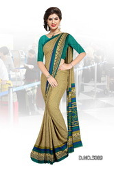 Green Bordered Uniform Saree