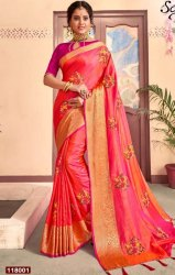 Festive Wear Designer Sana Silk Saree With Embroidery Butta