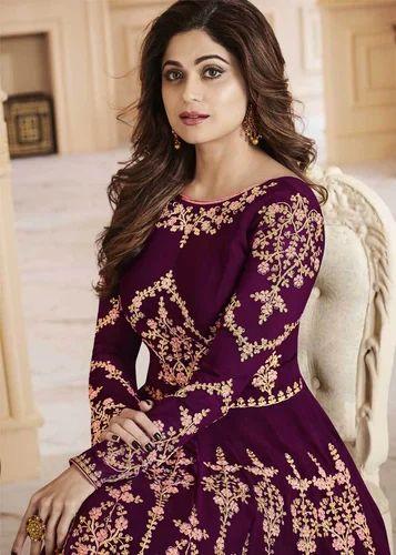 6e127c82f6d Party Wear Purple Color Heavy Embroidered Georgette Anarkali Suit ...