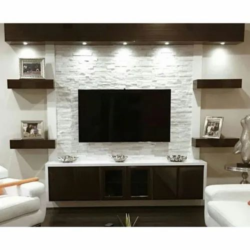 Living Room Cabinet Design In India: Brown Wooden Living Room TV Unit For Hotel, Rs 650 /square