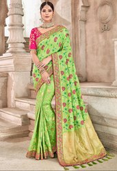 Spring Green Viscose Saree with Banarasi Blouse
