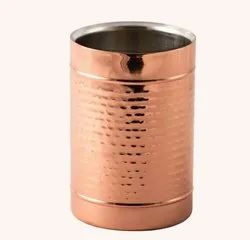 Copper Plated Stainless Steel  Ribbed Hammered Double Wall Wine Cooler Chiller Holder