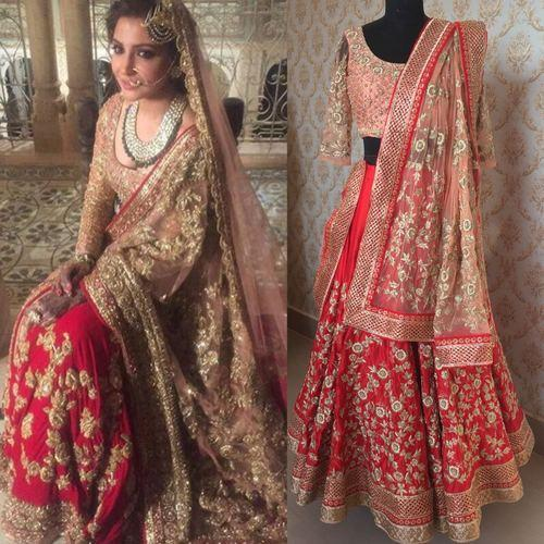 fbe1c2848938 Red Wedding Wear Bollywood Replica Lehenga