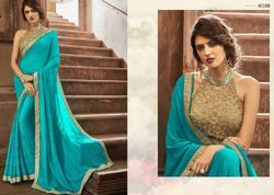 Georgette Printed Plain Chiffon Fancy Saree With Fancy Blouse, Dry clean