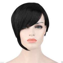 Women Short Natural Black Synthetic Wigs