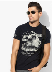 Navy Printed Slim Fit Round Neck T-Shirt