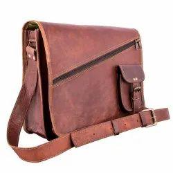 Brown Designer Leather Shoulder Bag, Size: 11 X 15 Inch