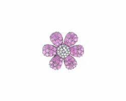 Chic Designs Black Natural Ruby Flower Belt Buckle Findings