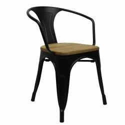 45*45*85 7kg Metal Armrest Chair with Wooden Seat