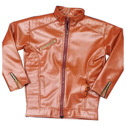 Kids Boys Brown Rexine Jacket, Size: 20 And 22 Inch