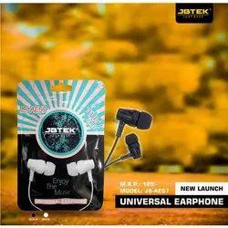 Mobile Black JB-AE57 JBTEK Univesal Ear Phone, Packaging Type: Packet