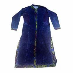 Ladies Woolen Blue Printed Kurti