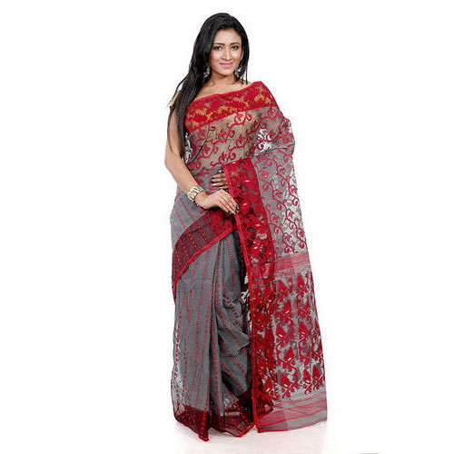 33cdfdf938c22 Cotton Net Festive Wear Jamdani Saree