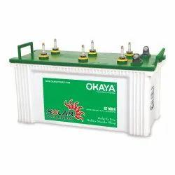 Green & White Tubular Okaya Solar Battery ST100S 1030, 12 V