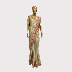 Steel Grey Designer Saree