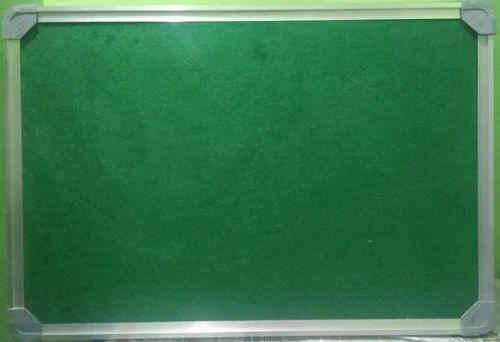 Velvet Cloth Surface Green 8 x 4 feet Bulletin Board, For Office, Frame Material: Durable Aluminium