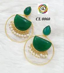 Cl Code Statement Matt Finish Monalisa Stone Fashion Jewellery Earrings