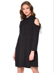Black Polyester Hand Cut Fit And Flare Dress