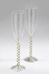 Melange Silver Plated Spiral Wine Glasses
