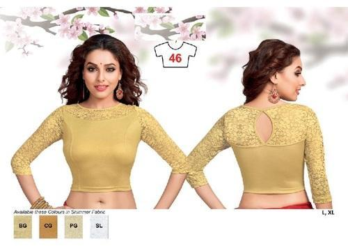 the best attitude multiple colors new release Golden Stylish Long Net Sleeves Lycra Stretchable Blouse