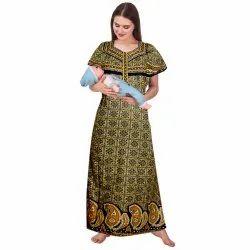 Printed Night Dress Women Maternity/Nursing Nighty, Size: XL