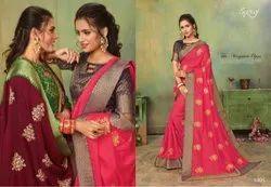 Stylish Designer Vichitra Silk Saree