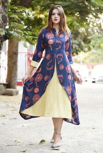 Blue XL Ladies Designer Kurtis, Age Group: Adults, Back Style: Printed