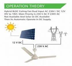 White Hybrid AC/DC Ceiling Fan - BLDC Technology, Size: 1200 Mm, Warranty: 2 Year
