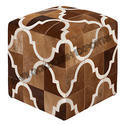 Sge Geometical Leather Hair On Poufs