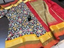 Pochampally Saree With Blouse Piece