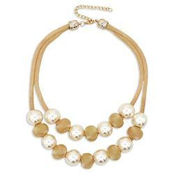Party Wear Ladies Golden Fashion Pearl Neck Piece