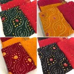 Cotton Bandhani Dress Material