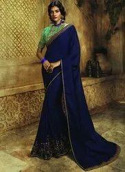 Aardhagini Wedding Wear Navy Blue Vichitra Silk Designer Sarees, 6.3 M (with Blouse Piece)