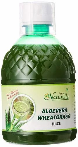 Farm Naturelle Aloe Vera Wheat Grass Juice, 400 ml, Plastic Bag or Polythene