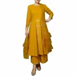 971c4b8b59 Mustard Cotton Anarkali Palazoo Suit, Rs 3540 /piece, Priyanka ...