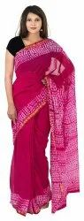 Stylish Chanderi Batik Saree Attached Blouse Piece