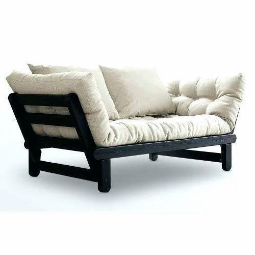 Black And White Wooden Frame Futon Sofa