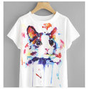 Cotton Casual Wear Ladies Round Neck Printed T-shirts