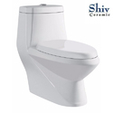 White Single Flush Ceramic Toilet Seat