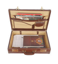 Genuine Leather Brown Briefcases Expandable Brown