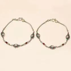 Male Natural Sterling Silver Real Ruby Emerald Sapphire White Topaz Anklet 925, Size (Centimetre): 26