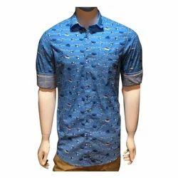 Casual Wear Printed Mens Blue Shirt
