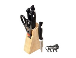 Stainless Steel Knife Set And Scissor With Wooden Stand