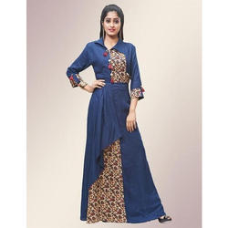 Blue Rayon Floor Length Printed Gown, Length: 60 inch
