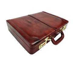 Leather Briefcase Executive Attache Slim Business Handbag Laptop MacBook Carry Case